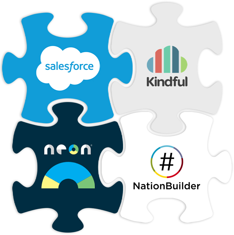 Partners: Salesforce, Kindful, Personify, iMIS, NationBuilder, and Neon CRM